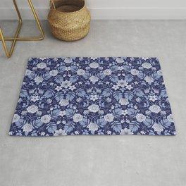 Light Blue, Cobalt Blue, & White Floral Pattern Rug