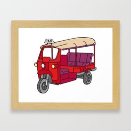 Red tuktuk / autorickshaw Framed Art Print