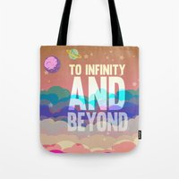 buzz lightyear Tote Bags featuring to infinity and beyond.. toy story.. buzz lightyear by studiomarshallarts