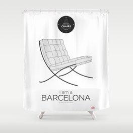 Mies' Barcelona chair (minimalistic version) Shower Curtain