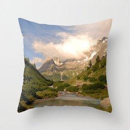 Mountain Valley River Alps Idyllic Alpine Landscape Throw Pillow