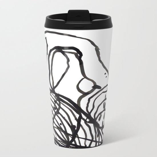 Paint 2 abstract black and white minimal brushstroke japanese modern home decor dorm college  Metal Travel Mug