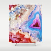 crystals Shower Curtains featuring Crystals by Eileen Holland