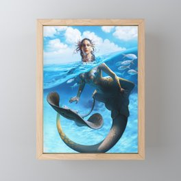 Ray Mermaid Framed Mini Art Print