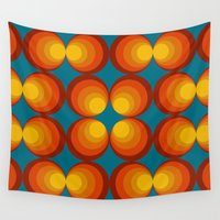 70s Wall Tapestries featuring 70s Circle Design - Teal Background by erinsaurus