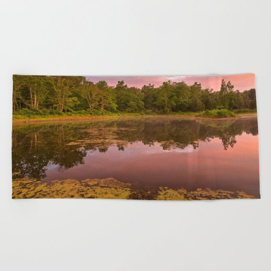 Pink Twilight Marsh Beach Towel
