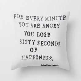 Happiness Ralph Waldo Emerson Quote Throw Pillow
