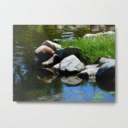 Water Rock Reflection  Metal Print