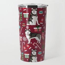 Alaskan Malamute dog christmas pattern candy canes christmas presents Travel Mug