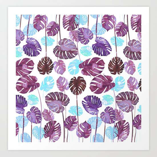 Tropical Cold leaves Art Print
