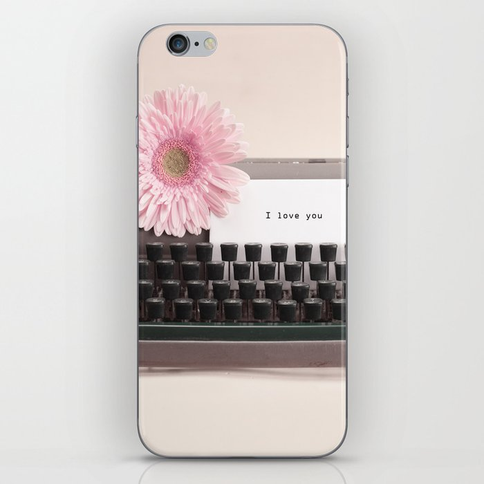 """""""I love you"""" Message and Typewriter with Pink Flower (Retro Still Life Photography)  iPhone Skin"""