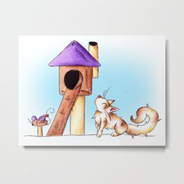 Cat Condo Housewarming Metal Print