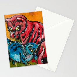 Blue and Red Cats Stationery Cards
