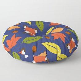 Fox Jumble - Blue Floor Pillow