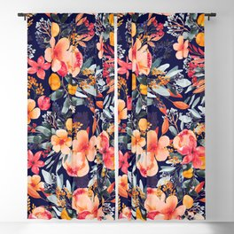 Navy Floral Blackout Curtain