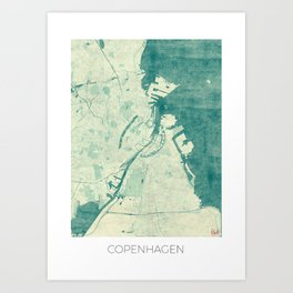 Copenhagen Map Blue Vintage Art Print
