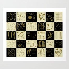 Kandinsky - Black and Gold Pattern - Abstract Art Art Print