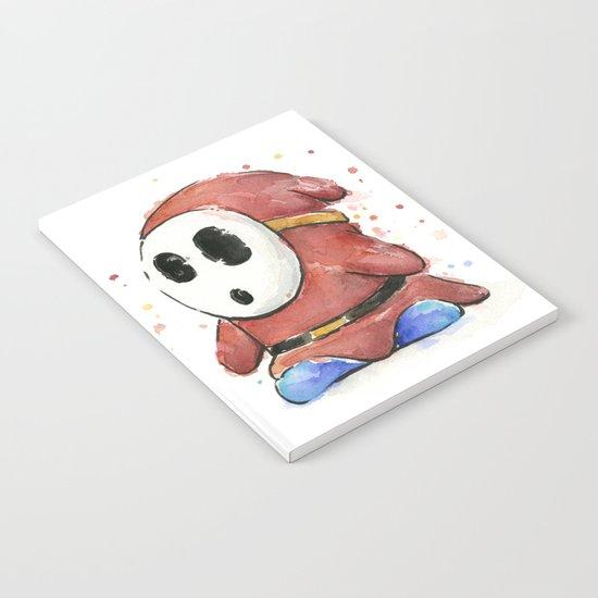 Shy Guy Watercolor Mario Art Notebook