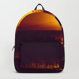 Kamaole Tropical Nights Sunset Gold Purple Palm Backpack