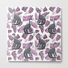 Modern Dinosaur Pattern - Pink Metal Print