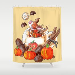 Halloween Pumpkin Spice Mocha Piggy Shower Curtain