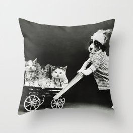 Cats In A Stroller - The Outing - Harry Whittier Frees Throw Pillow