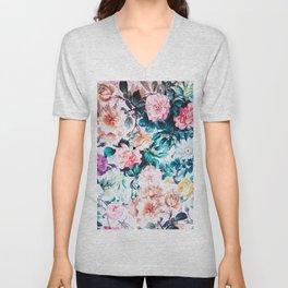 Modern blush pink green watercolor roses floral Unisex V-Neck
