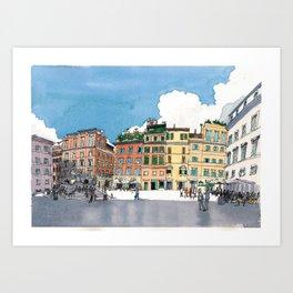 Piazza di Santa Maria, Trastevere, Rome. Art Print