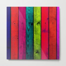 Colorful Wooden Boards Metal Print