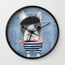 French Bulldog. (panoramic view version) Wall Clock