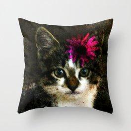 Kitten With Flower Portrait Throw Pillow