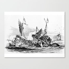 1810 vintage nautical octopus steampunk kraken sea monster drawing print Denys de Montfort retro Canvas Print