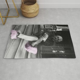 Albert Einstein in Fuzzy Pink Slippers Classic E = mc² Black and White Satirical Photography  Rug