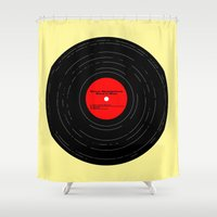 bruce springsteen Shower Curtains featuring Born to Run- Bruce Springsteen Vinyl by MisfitIsle