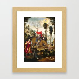 Saint George and the Dragon Oil Painting by Sodoma Framed Art Print