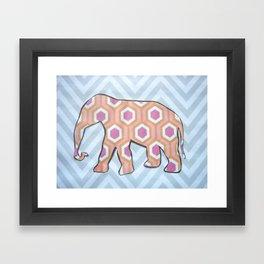 Elephant- Gray Chevron  Framed Art Print