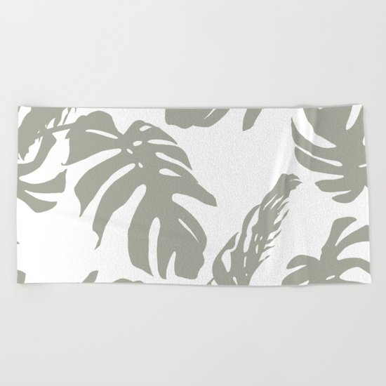 Simply Retro Gray Palm Leaves on White Beach Towel