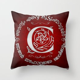 Joshua 24:15 - (Silver on Red) Monogram C Throw Pillow