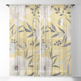Modern, Floral Prints, Yellow and Gray Sheer Curtain