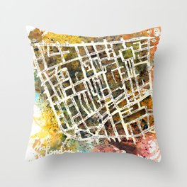 Soho London Map Throw Pillow