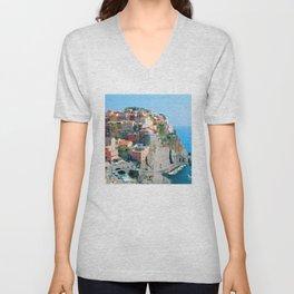 Italy. Cinque Terre - Cliffside Unisex V-Neck