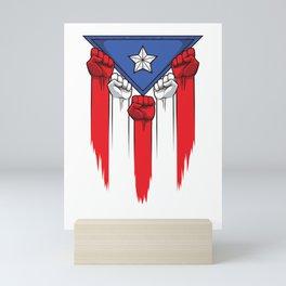 Puerto Rico Flag - Boricua Raised Fists Mini Art Print