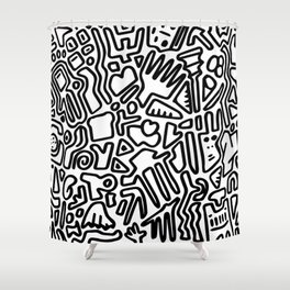 black & white doodle Shower Curtain