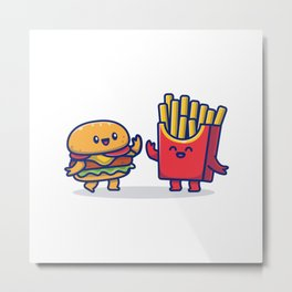 Cute Burger French Fries Icon Illustration Fast Food Icon Concept Isolated Premium Flat Cartoon Styl Metal Print