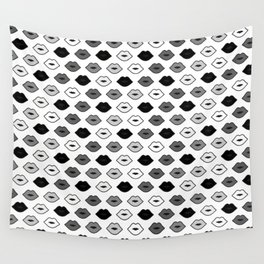 Chessboard Lips - Black and White Wall Tapestry