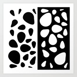 Black and White Teardrops Design Art Print