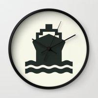 ship Wall Clocks featuring Ship by Alejandro Díaz