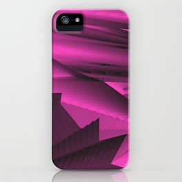 Strange gentle landscap with stylised mountains, sea and pink Sun. iPhone Case