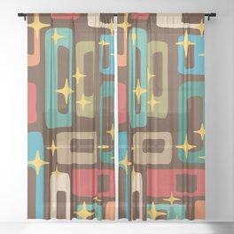 Retro Mid Century Modern Abstract Pattern 222 Sheer Curtain
