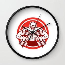 Bodybuilder Lifting Dumbbell Circle Retro Wall Clock